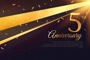 Plantilla de tarjeta de celebración del quinto aniversario