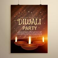 génial modèle de célébration du festival de diwali avec trois diya sur f