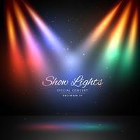 palco com fundo de luzes coloridas