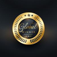 global vinnare gyllene etikett design