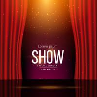 palco com cortinas vermelhas abertas