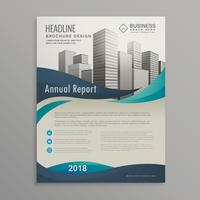 brochure design template with blue wavy shapes in modern style