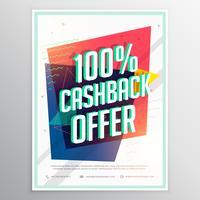 Plantilla de volante de folleto de descuento de cashback con geometri colorido