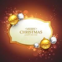 hermoso fondo feliz Navidad con oro y plata chri