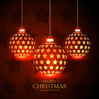 fundo vermelho bonito com bolas de Natal de suspensão feitas com