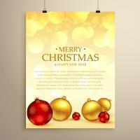 Glatt jul hälsningskort flygblad mall med realistiska xmas