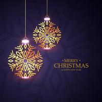 snygg julfestival hälsning med gyllene xmas boll i sno