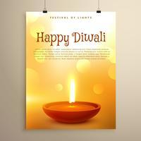 feliz diwali festival saudação com diya realista e bokeh eff