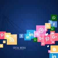fundo azul com ícones de mídia social