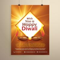 indian festival of happy diwali greeting card flyer template