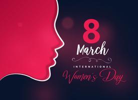 glad kvinnodag hälsning design med kvinnligt ansikte