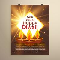 incrível feliz diwali festival convite flyer modelo com thr