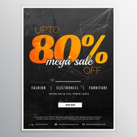 stylish 80% off mega sale promotional template design for your m