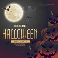 abóboras de noite de halloween no fundo da lua