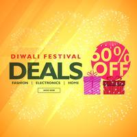 Festival diwali ofertas y ofertas con caja de regalo.
