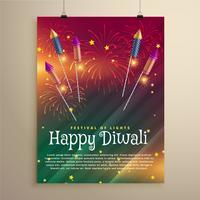 incrível modelo de panfleto festival de diwali com fogos de artifício e voar