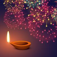 festival vuurwerk achtergrond met diya
