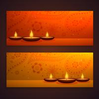 set of beautiful diwali banners with diya and paisley decoration