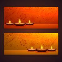 ensemble de belles bannières de diwali avec diya et décoration paisley