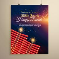 beautiful diwali festival flyer background with crackers and fir