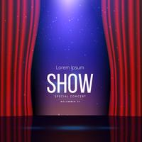 Escenario de teatro con cortinas abiertas.
