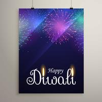 diwali festival fireworks in blue night sky flyer design templat