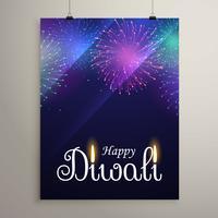 Festival de fuegos artificiales de diwali en el cielo azul de la noche diseño de volante templat