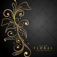 élégant floral doré sur fond noir
