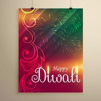 incroyable indien joyeux diwali festival salutation flyer modèle esprit