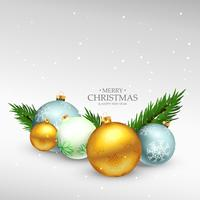 merry christmas festival greeting card design with realstic xmas