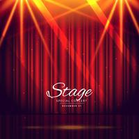 fundo de palco vermelho com cortinas fechadas