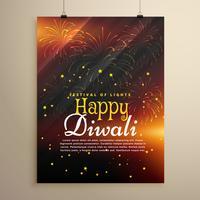 beau modèle de flyer joyeux diwali avec feu d'artifice