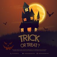 läskigt halloween hus med måne och flugor fladdermöss