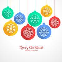 bunter hängender Weihnachtskugelhintergrund mit Schneeflocken