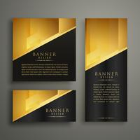 conjunto de tres diseño de banner de oro premium