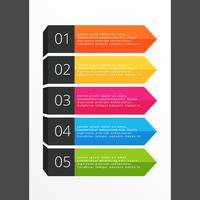 five steps horizontal colorful banners