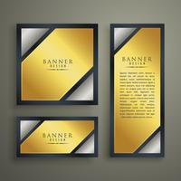 Goldene Premium Banner Set Design-Vorlage