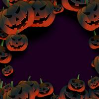 bråkig halloween pumpa ram på mörk bakgrund