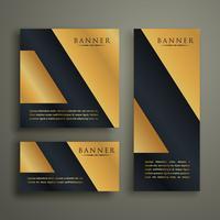 design de bandeira dourada premium geométrica abstrata