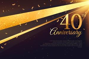 Modelo de cartão de celebração de aniversário 40
