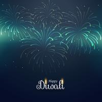 Fondo de saludo diwali con fuegos artificiales
