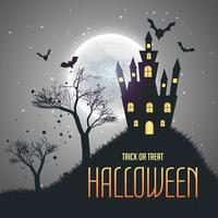Fondo de cielo nocturno de la casa de Halloween con la luna y los murciélagos volando