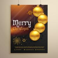 Plantilla de volante de saludo de Navidad con decoración de bolas de Navidad