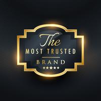 Goldener Aufkleberentwurf des vertrauenswürdigsten Markengeschäftsvektors