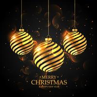 boules de Noël dorées sur fond noir. joyeux noël gree