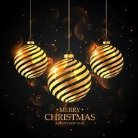gyllene julbollar på svart bakgrund. god jul gree
