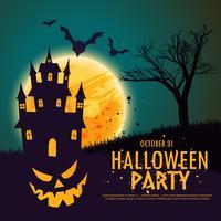 lycklig halloween bakgrund med hemsökt hus