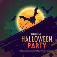 halloween party invitation background with flying bats