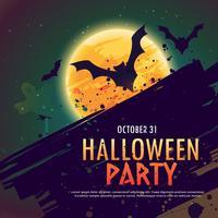 Fondo de invitación fiesta de Halloween con murciélagos volando