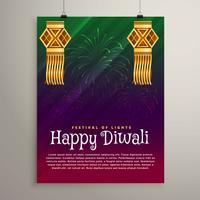 Fondo hermoso festival diwali con lámparas colgantes